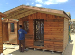 Wendy house with sisalation in roof, walls and verandah
