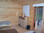 Inside of cabin with knotty pine