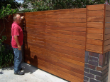 Fence & gate onto existing low brick wall (Colortone Woodseal)