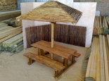 Picnic table and timber umbrella