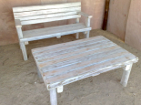 Outdoor bench with coffee table (white wash)