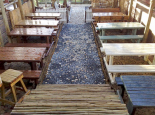 A variety of outdoor tables and benches available