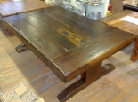 Black iron wood coffee table with T-type leg