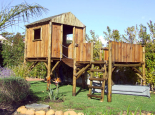 Tree house with loose platform and hanging bridge